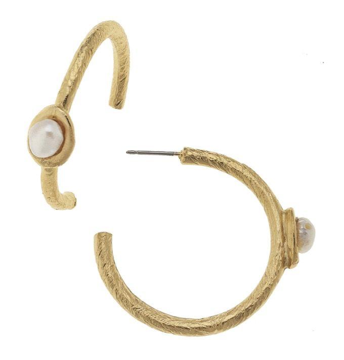 Genuine Freshwater Pearl On Hoop Earrings B La Btq