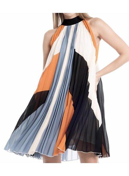 Color Block Pleats Sleeveless Dress