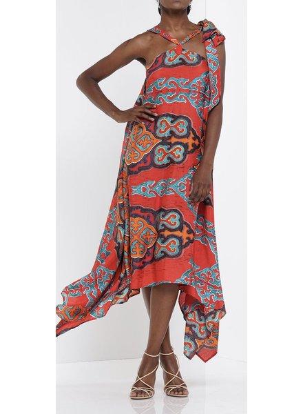 Printed pattern fabric Halter long dress.
