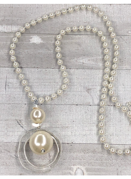 Pearl Long Necklace Silver