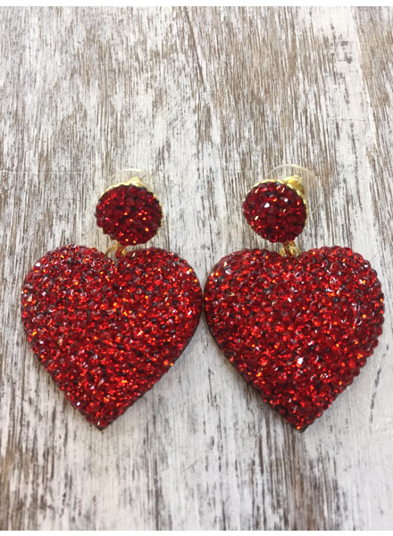 Heart Crystals earrings Red