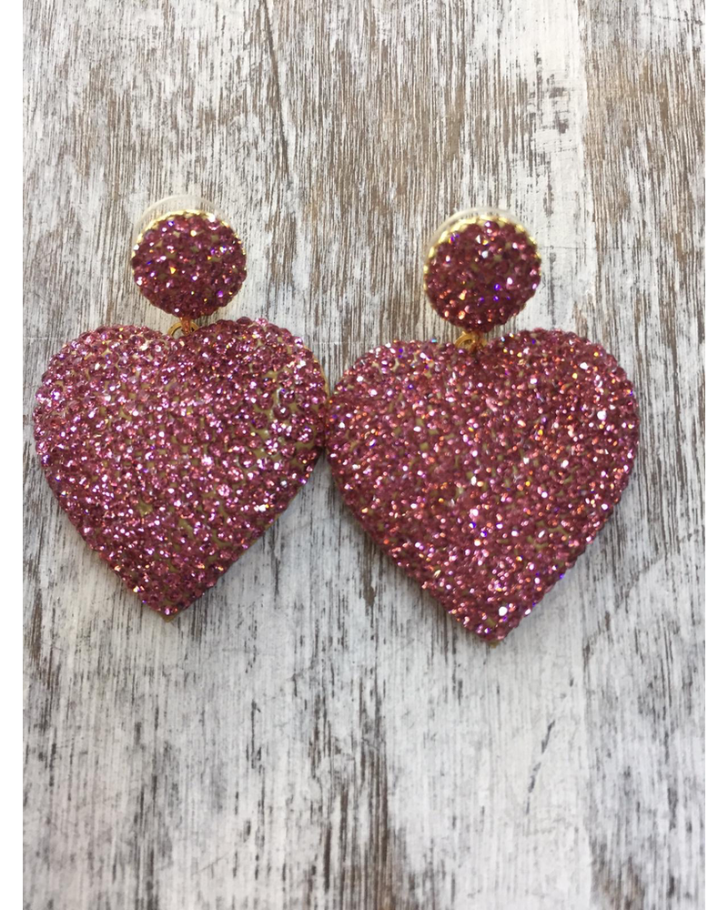 Heart Crystals  earrings Pink