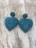 Heart Crystals  earrings Turq