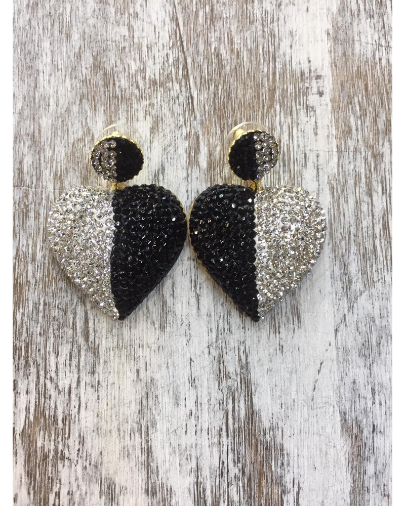 Black and white Heart Crystals