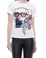 FASHIONABLE GIRL WITH SCARF TRIM T - SHIRT
