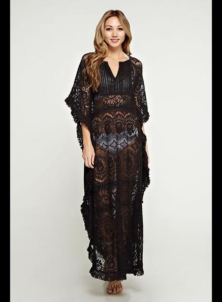 Lace caftan Dress Black