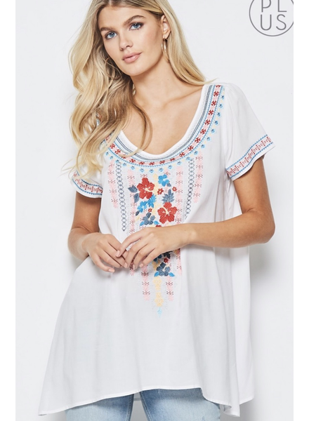 Round neckline tunic top with short sleeves