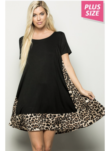 ANIMAL PRINT CONTRAST DRESS WITH SIDE POCKET