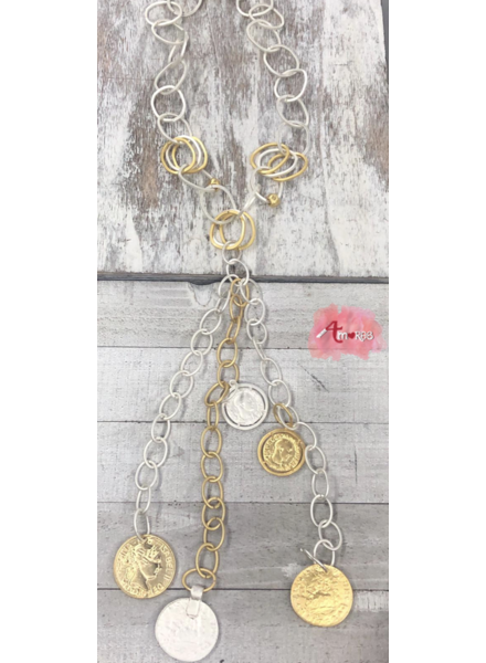 Coin Long Necklace 4 Amores