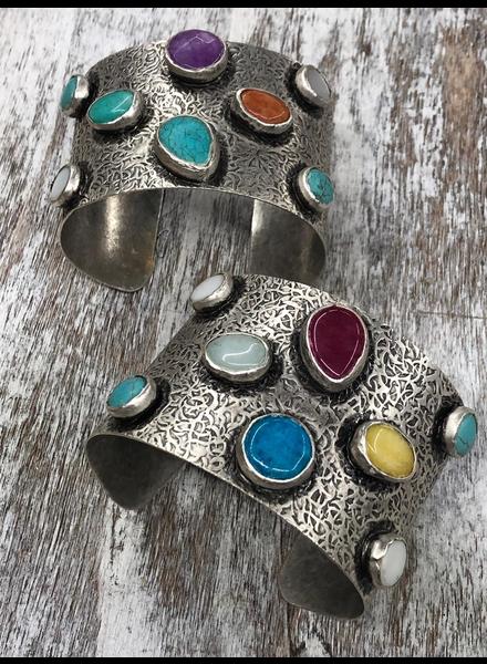 Silver Multi Stone Cuff