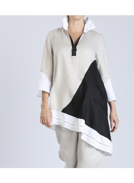 Long Tunic W/Stand Up Collar