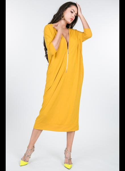 ZIP UP NECK H-LINE BASIC DRESS