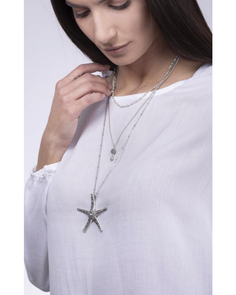 NECKLACE 3 CHAINS STARFISH