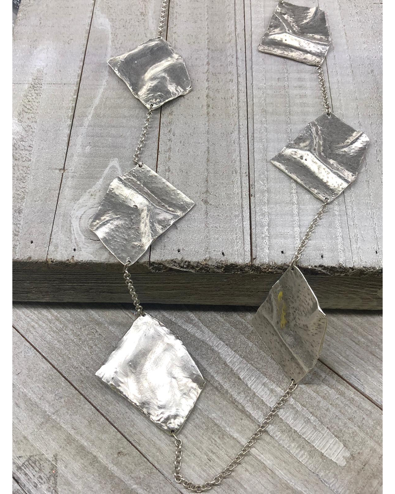 Square Silver Long Necklaces
