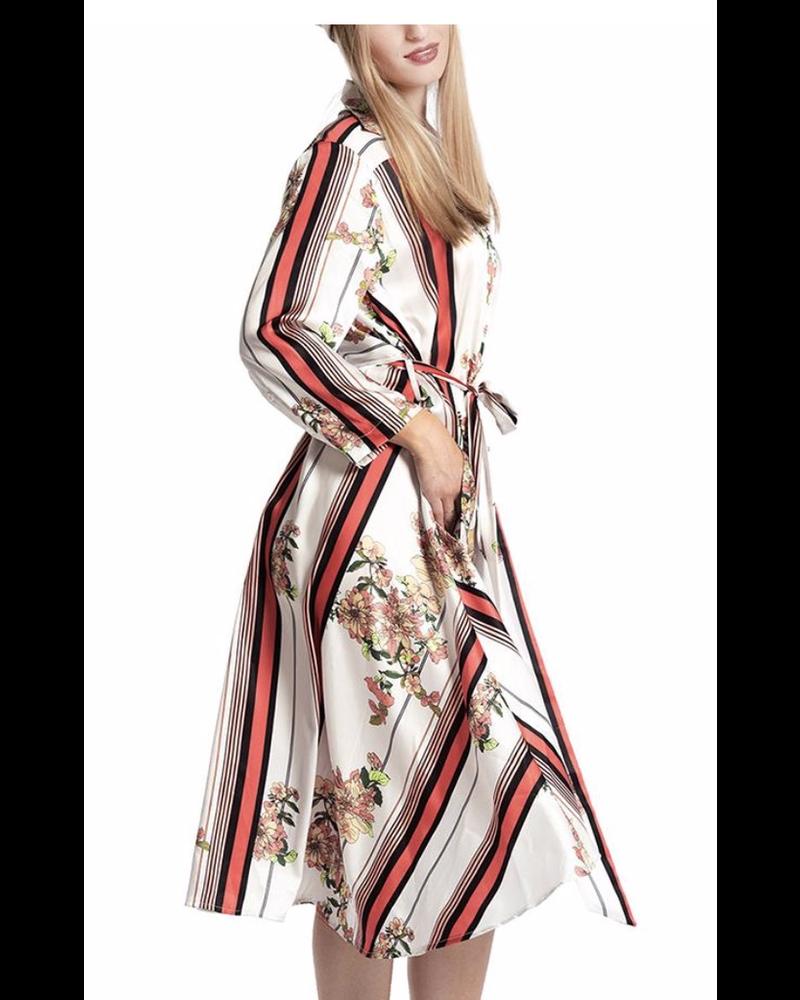 Floral Printing Shirt Dress With Belt
