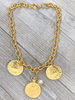 3 coins Necklace 21""