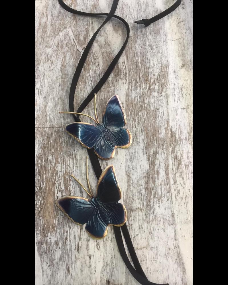 Butterflies Blue Brass necklace