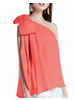 One Shoulder Sleeveless Top With Huge Ribbon