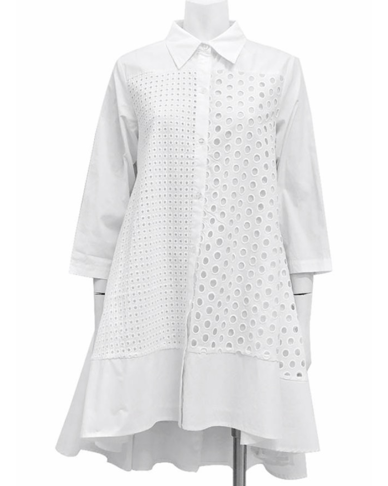 A-Line Long Shirts With Punched Fabric