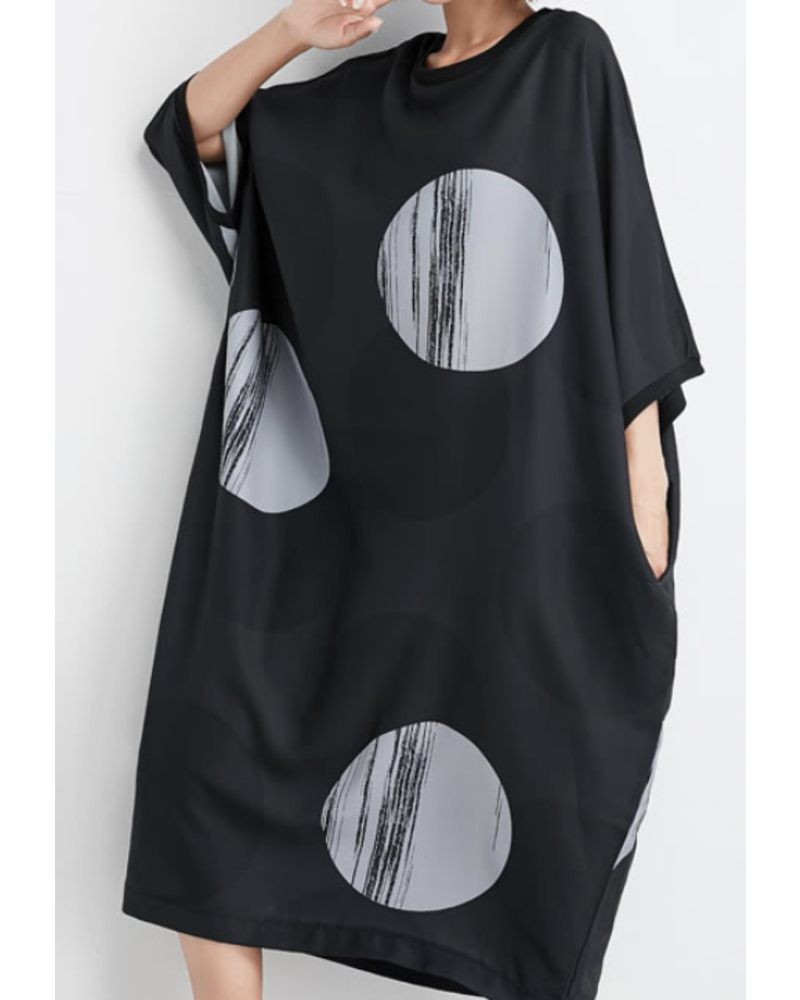 Gray Dots Dress<br /> Over size