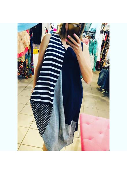 Patchwork Striped Sleeveless Dress