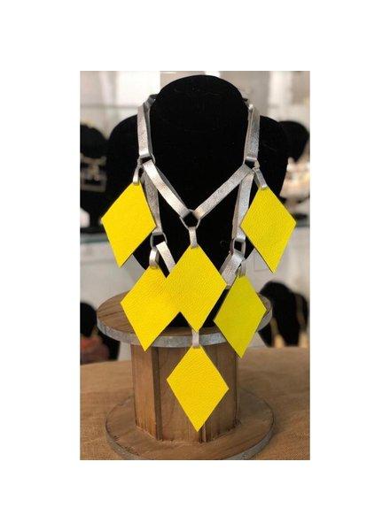 diamond leather necklace