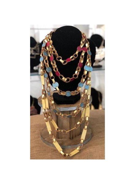mix color leather necklace