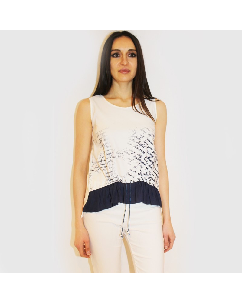 Printed Tank with Gathering and Ruffle