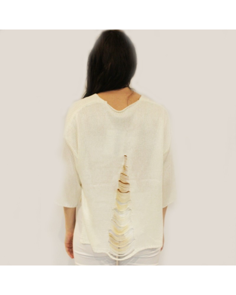 Ripped Three-Quarter Sleeve Sweater  One size