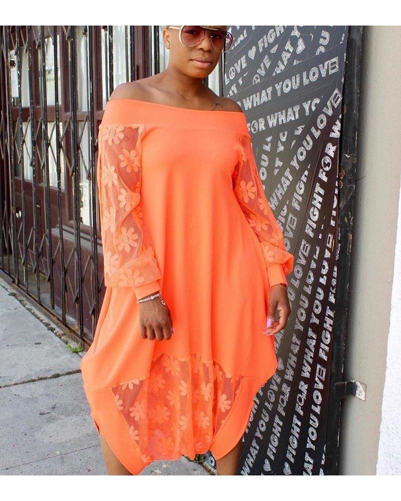 harem jumpsuit neon orange
