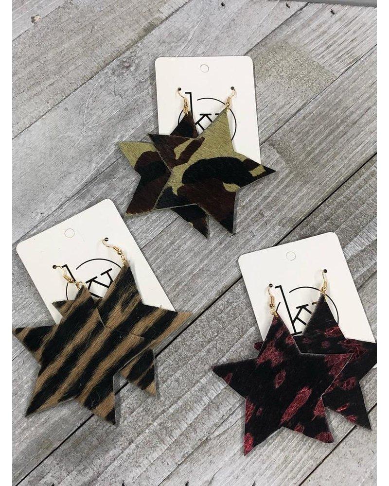 Star Leather Earrings