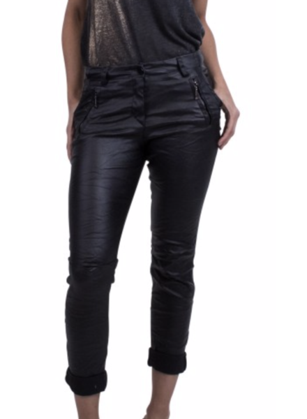 faux leather pants with 2 zip front pockets black
