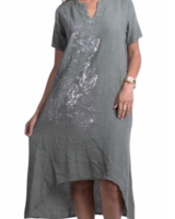 linen tunic with foiled jackuard print olive