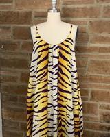 tigershirred swing dress w/pockets 100% polyester ivory/must/purple