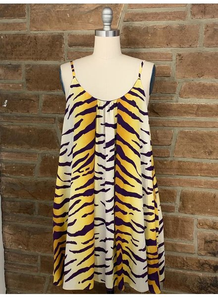 tigershirred swing dress w/pockets 100% polyester ivory/must/purple