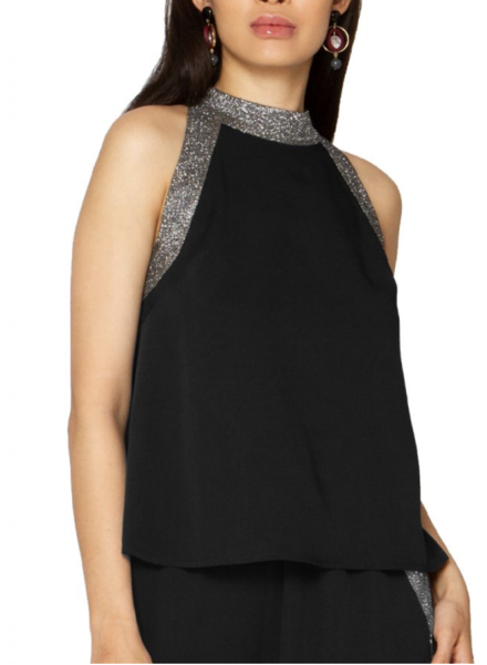 High Neck Sleeveless Top with Sequin Trim and pant (SET)