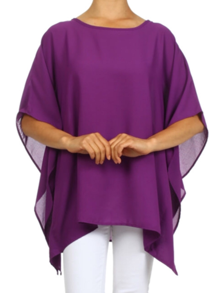 solid,boat neck poncho with an asymmetric hem