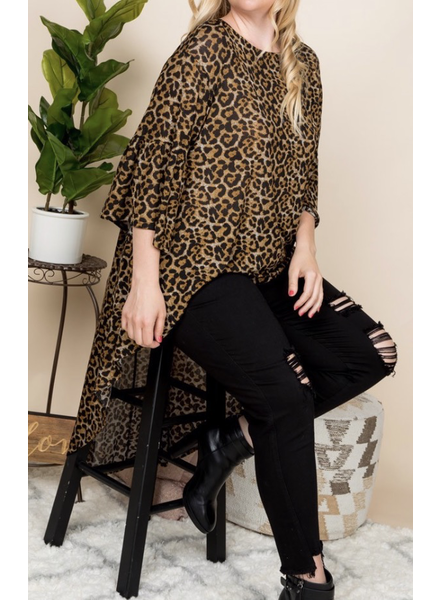 Plus size animal print high low tunic