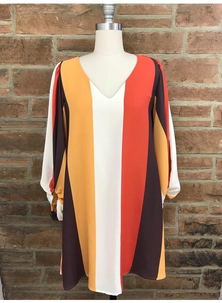 Stripe Dress Ballon Sleeve