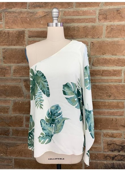 Tropical One shoulder top w/lining