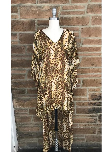 Leopard Hi Low Poncho dress w/lining