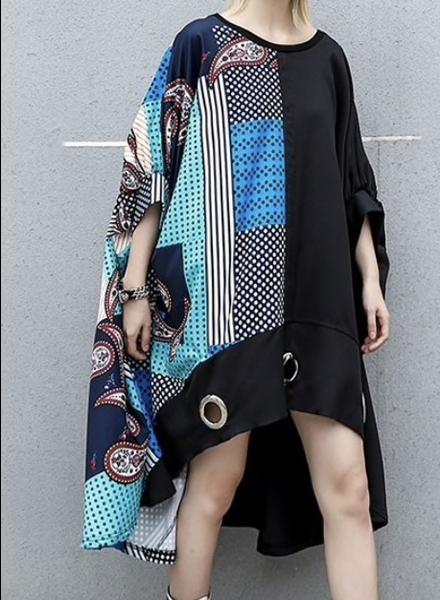Patchwork Dot Print Asymmetrical Dress