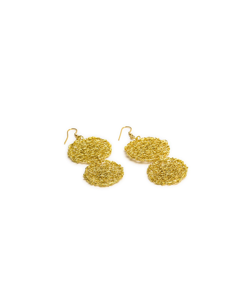 2 TANGLE WIRE ROUNDS EARRING