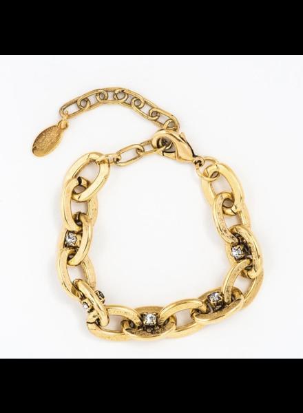 Antique Gold plated brass base metal Swarovski crystal bracelet.