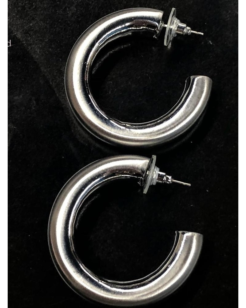 "1.6"" hoops Earrings Rhodium"