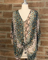 animal print v-neck poncho tunic