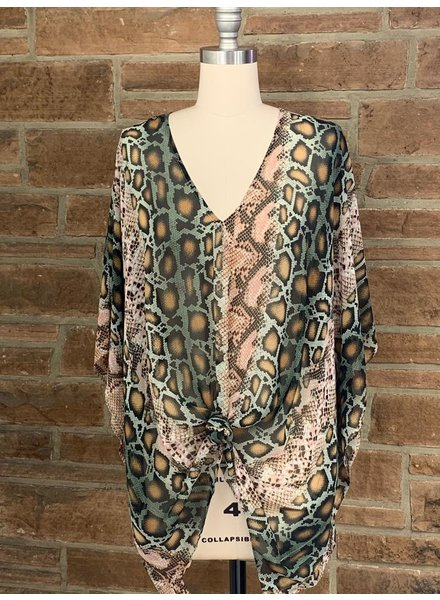 animal print v-neck poncho tunic
