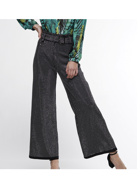 Heat Stone Beads Fabric Wide Leg High Rise Pant