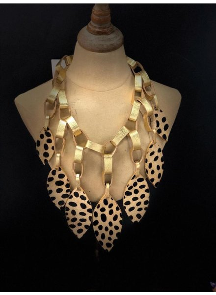 leather necklace animal print and gold
