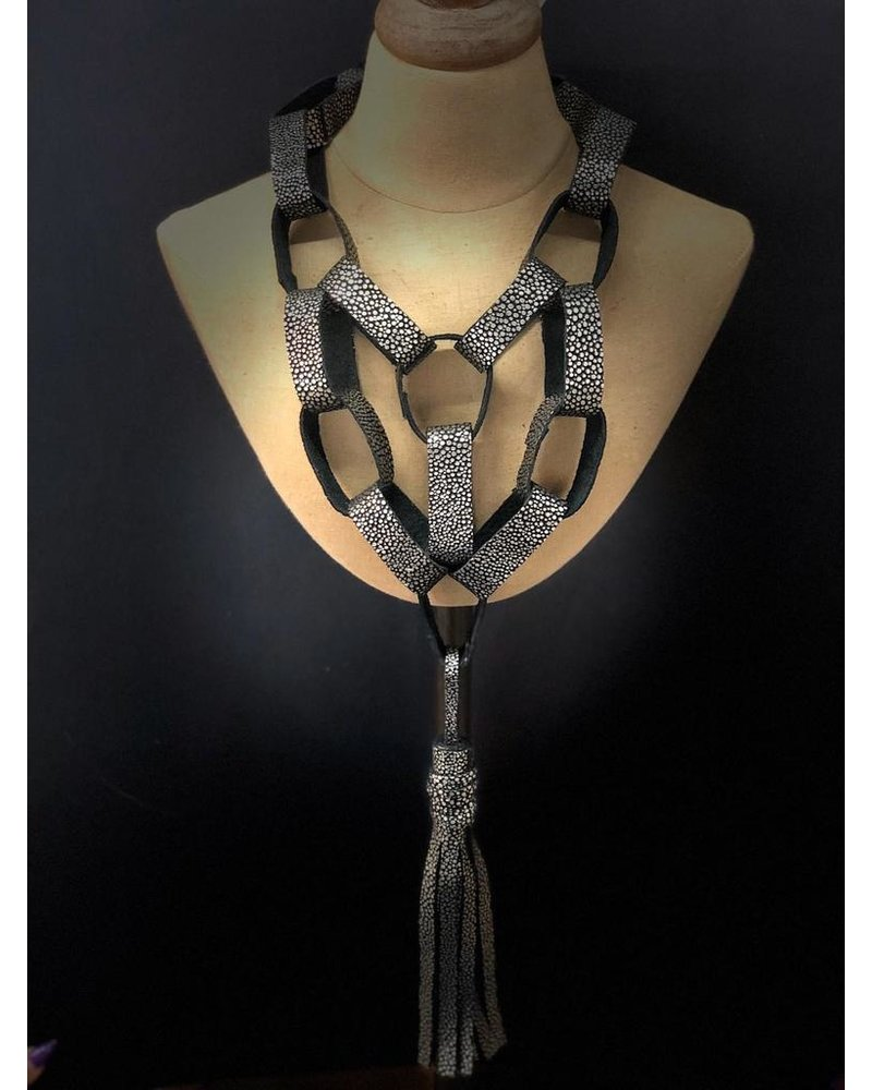 leather necklace black/silver